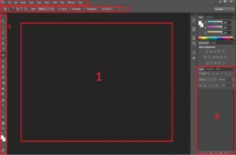 Giao diện và các khu làm việc chính trong Photoshop CS6